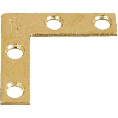 National Catalog 117 1-1/2 In. x 3/8 In. Brass Flat Corner Iron (4-Count)