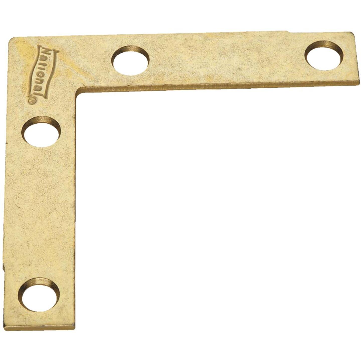 National Catalog 117 2-1/2 In. x 3/8 In. Brass Flat Corner Iron (4-Count) Image 1