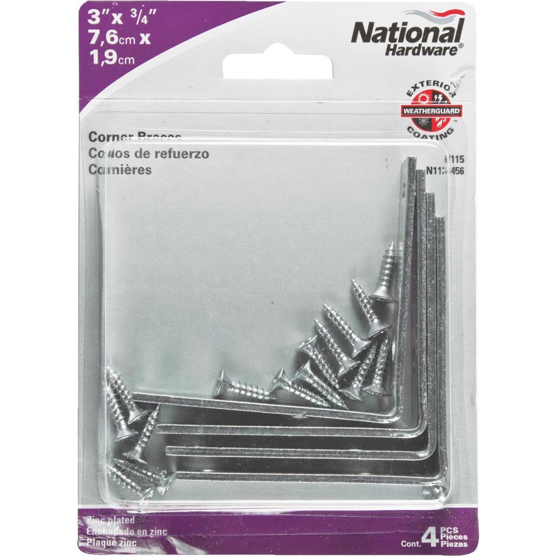 National Catalog V115 3 In. x 3/4 In. Zinc Steel Corner Brace (4-Count) Image 2