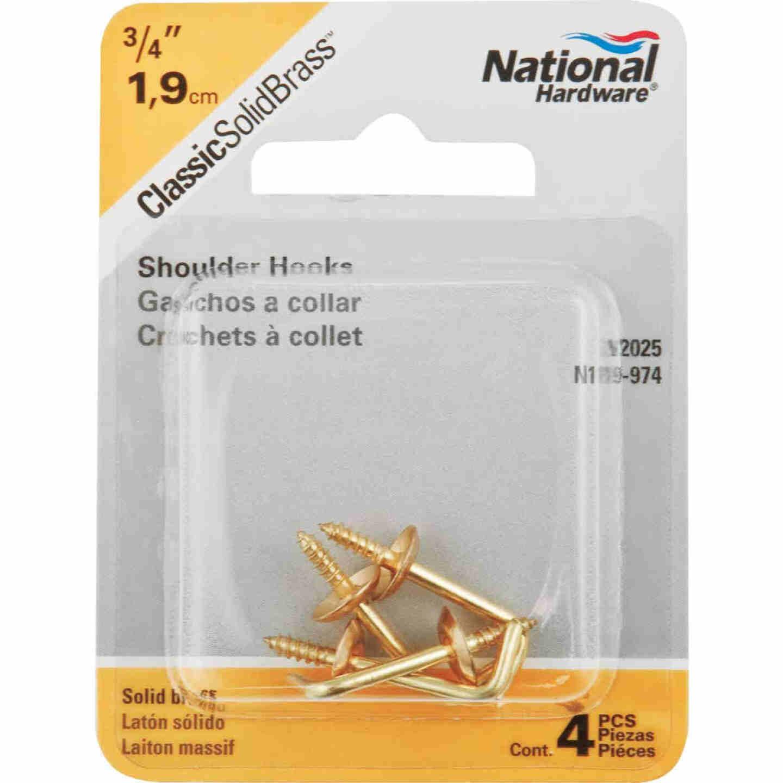 National 3/4 In. Solid Brass Shoulder Hook (4 Count) Image 2