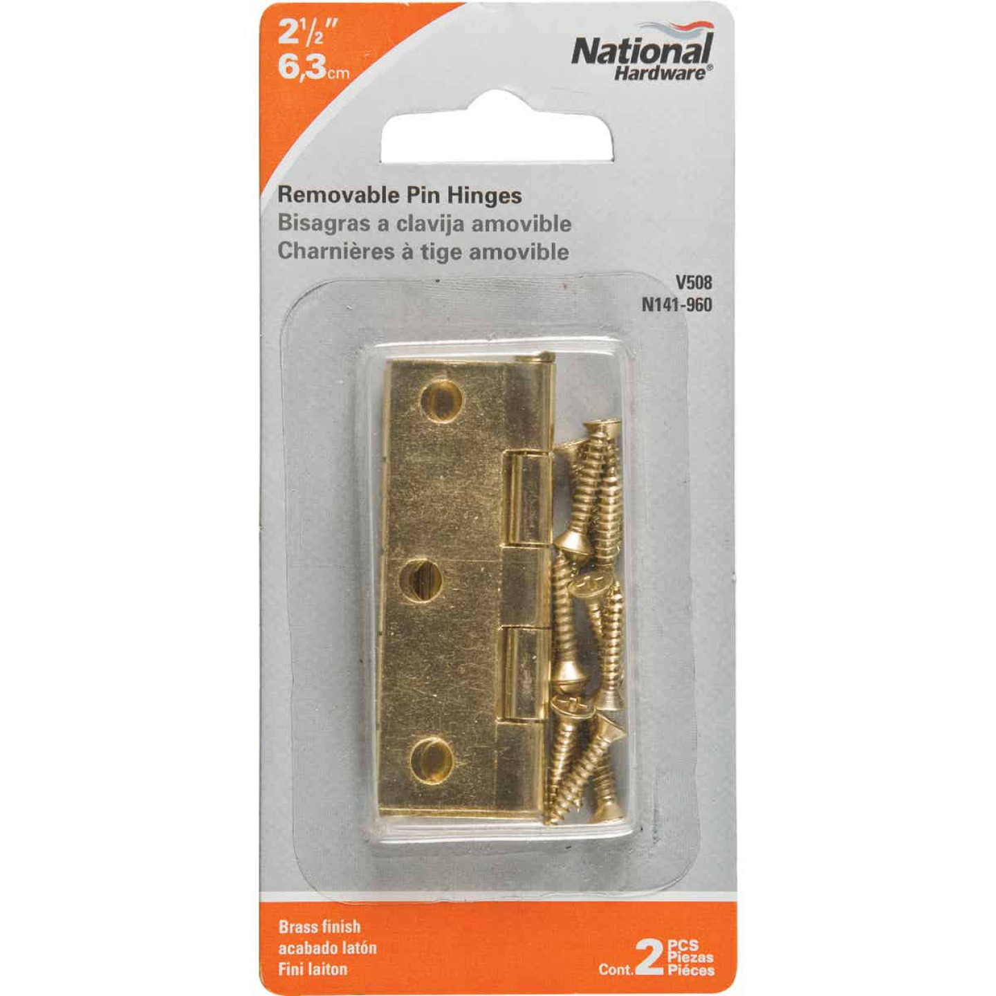 National 2-1/2 In. Brass Loose-Pin Narrow Hinge (2-Pack) Image 2