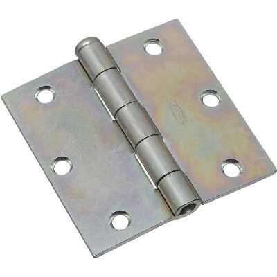 National 3-1/2 In. Square Zinc Plated Steel Broad Door Hinge (2-Pack)