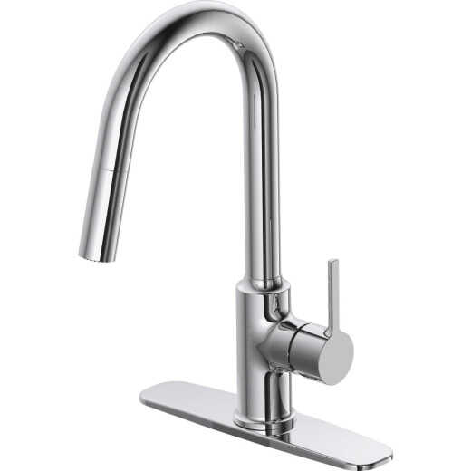 Home Impressions Contemporary Builder Single Handle Lever Pull-Down Kitchen Faucet, Chrome