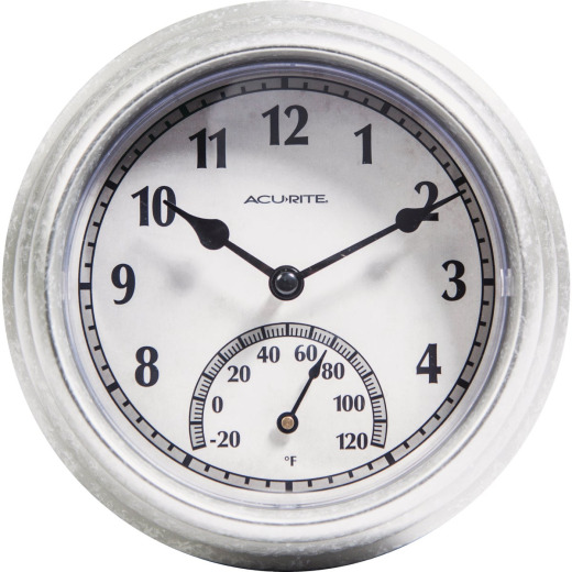 Acurite 8.5 In. Brushed Galvanized Clock/Thermometer